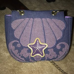 Disney Loungefly Little Mermaid Denim Saddle Bag